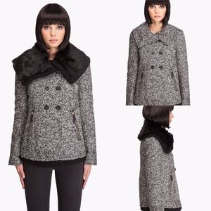 Juicy Couture Grey Tweed Faux Fur Coat Jacket